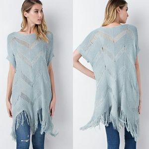 Sweaters - Knit Tunic Fringes with Dolman Sleeves